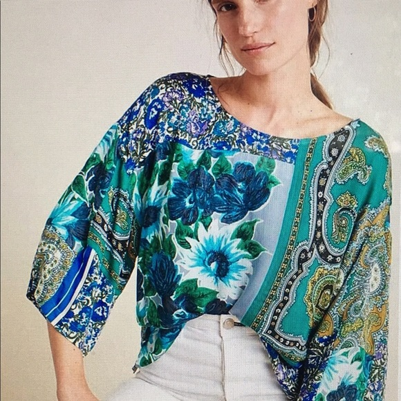 Anthropologie Tops - Anthropologie mixed print 3/4 bell-sleeve top sz L